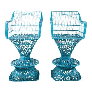 1960's Mid-Century Modern Blue Faux Wicker High Top Chairs - A Pair For Sale