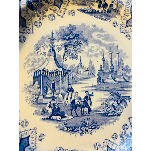 Early 19th Century Antique Early 19th Century Staffordshire Blue and White Transferware Dinner Plates -Set of 6 For Sale - Image 5 of 9