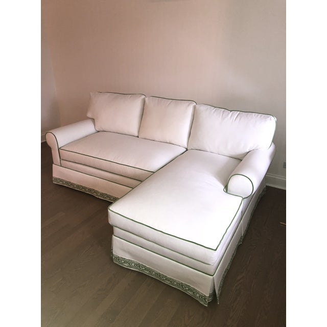 Custom White Cripton Sectional With Green Piping and Trim For Sale - Image 9 of 9