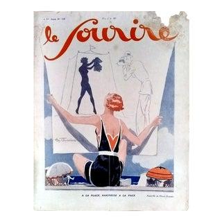 """H. Fournier 1928 """"A La Page"""" Le Sourire Cover Print"""