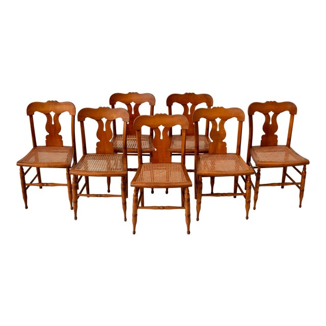 Antique Caned Federal Dining Chairs, Set of Eight For Sale