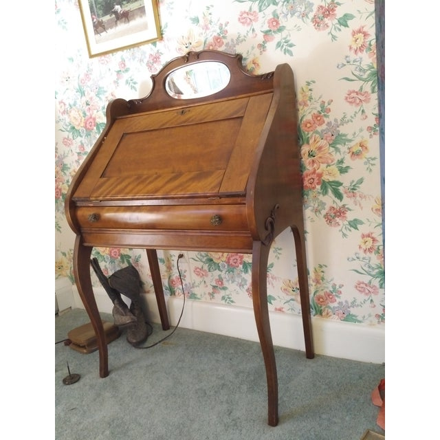 Brown Cherry Petite Antique Writing Desk For Sale - Image 8 of 10