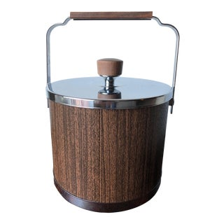 Mid-Century Faux Wood Ice Bucket For Sale