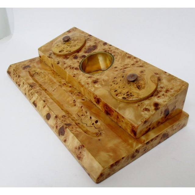 Contemporary Lacquered Burl Wood Desk Set For Sale - Image 3 of 8