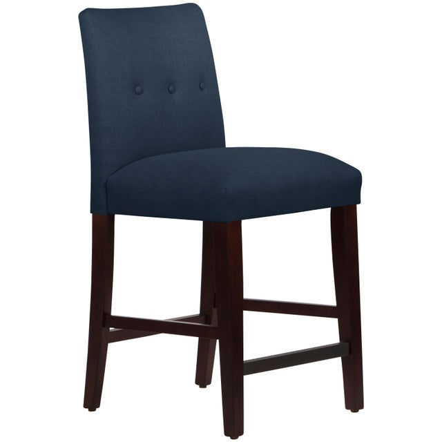 Fabric Tufted Linen Navy Tapered Counter Stool For Sale - Image 7 of 9