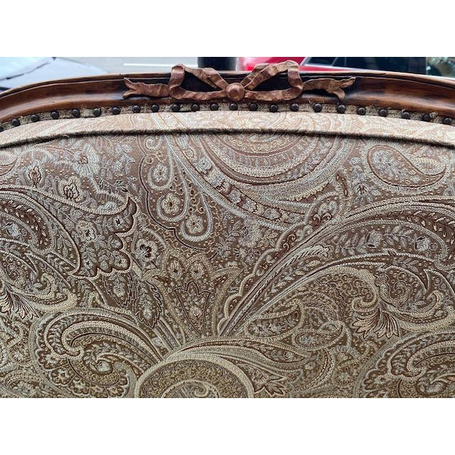 Early 19th C. French Walnut Settee With Guilt Accents For Sale - Image 4 of 13