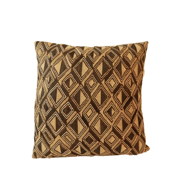 African African Kuba Textile Pillow For Sale - Image 3 of 7