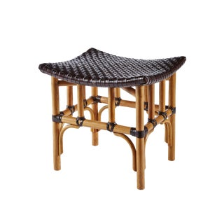 Nutmeg (Espresso Leather) Leather Woven Stool