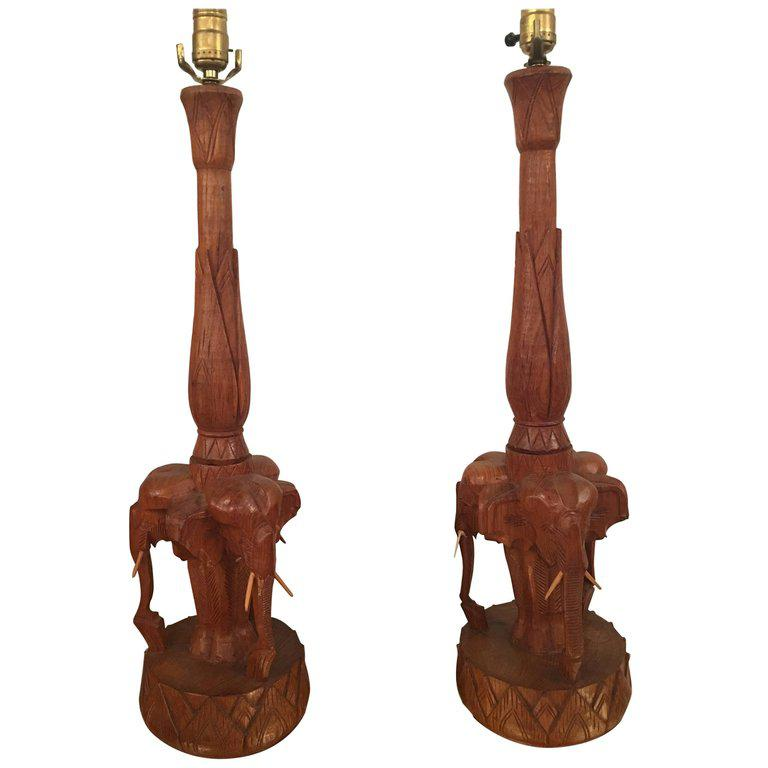 Vintage Hand Carved Wooden Elephant Table Lamps   A Pair For Sale   Image  11 Of
