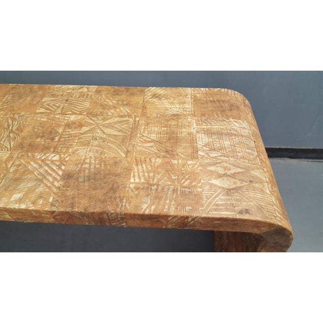 French Unusual Hand-Stenciled Bark Console Table For Sale - Image 3 of 7