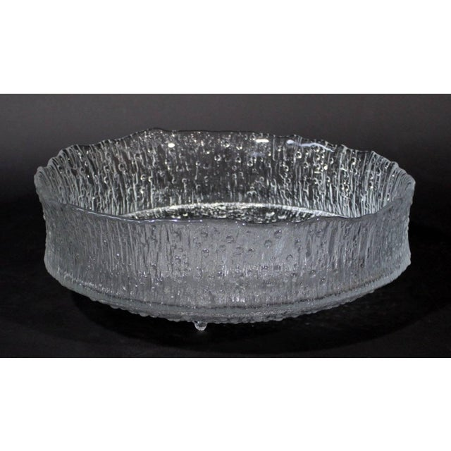 For your consideration is this beautiful extra large Tapio Wirkkala designed centrifugal cast glass ice dish, model 3442,...