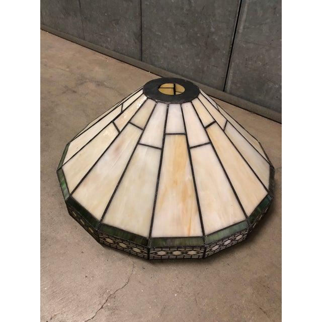 1980s Mission Slag Arts & Crafts Spectrum Glass Lamp Shade For Sale - Image 5 of 12