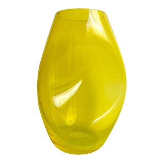 Colombia Glassworks Tall Indented Studio Glass Vase For Sale