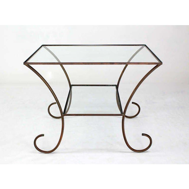 Brass Deco Style Solid Brass Serving Console Hall Table circa 1930s For Sale - Image 7 of 7