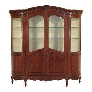 1980s Vintage French Style Beveled Glass China Cabinet For Sale