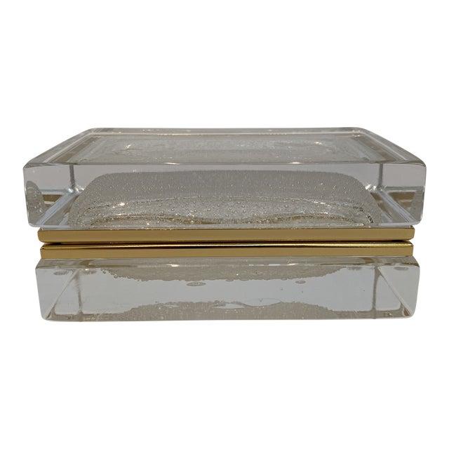 21st Century White Murano Crystal Jewel Box by Mandruzzato For Sale