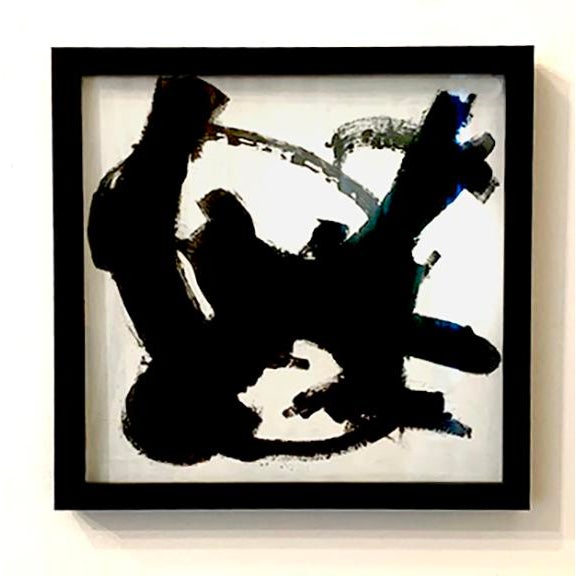 This abstract black and white painting is framed in a modern black wood frame. 13 in square, wired and ready to hang
