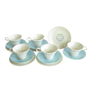 1960s Ben Seibel Iroquois Impromptu Garland Cups, Saucers, and Plates - 15 Pieces For Sale
