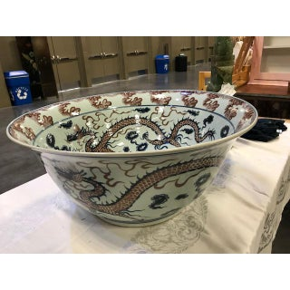 Antique Huge Chinese Porcelain Dragon Bowl Preview