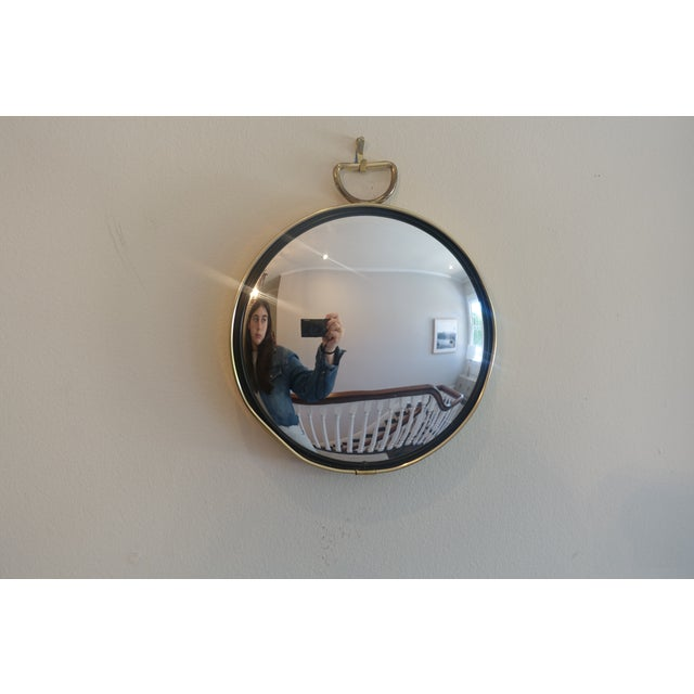 rare mid century brass convex wall mirror in the manner of Gio Ponti. beautiful alone or as part of a gallery wall. the...