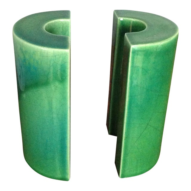 Raymor Green Ceramic Bookends - A Pair - Image 1 of 8