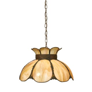 Cream Color Slag Glass Pendant Light Fixture