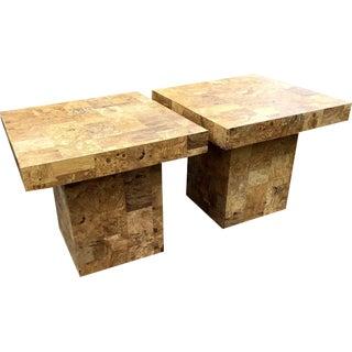 1970s Vintage Milo Baughman Style Burl Patchwork Accent Tables - A Pair