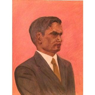 Vintage Grey Suited Up Man Oil Portrait Painting