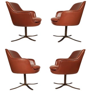 Set of Four Leather Nicos Zographos Dining Chairs with Oil Rubbed Bronze Bases For Sale