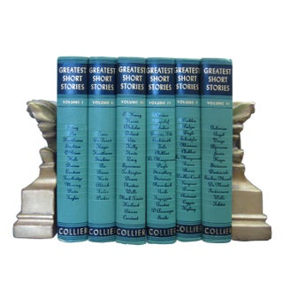 1950s Collier Greatest Short Stories Seafoam Green & Navy Books - Set of 6 Preview