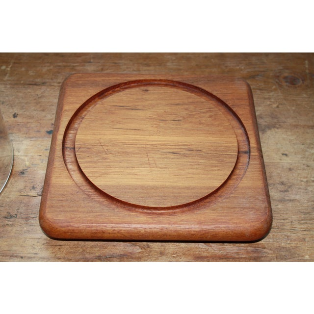 Mid Century Teak Cheese Tray with Glass Top - Image 3 of 5