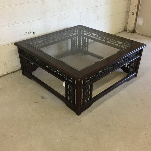 Asian Mahogany Asian Style Glass Top Coffee Table For Sale - Image 3 of 10
