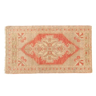 "Vintage Distressed Oushak Rug - 1'10"" X 3'4"" For Sale"