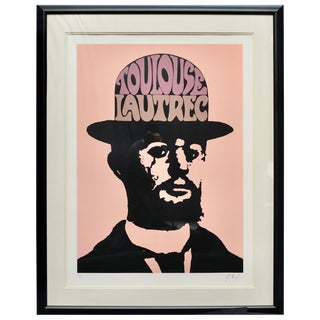 Large Toulouse Lautrec by Peter Max in Peach Pink, Signed and Framed For Sale