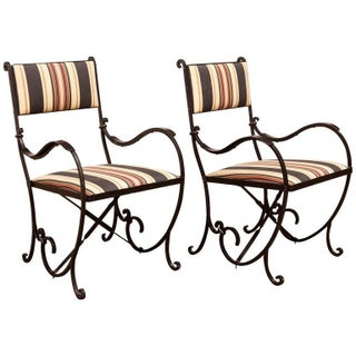 French Art Deco Wrought Iron Cafe Chairs - A Pair