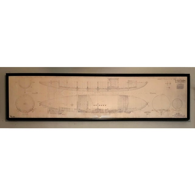 Blue Vintage U.S. Navy Airship Blueprint For Sale - Image 8 of 11