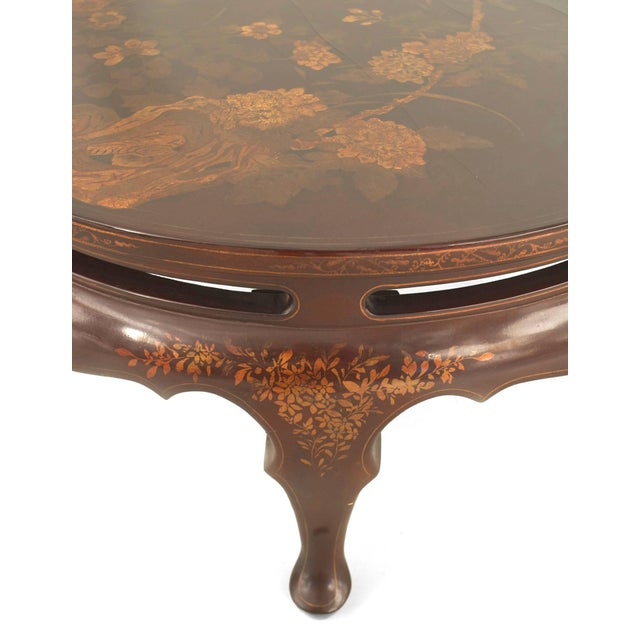 Wood English Queen Anne Style Chinoiserie Rust Lacquer Floral Design Coffee Table For Sale - Image 7 of 8