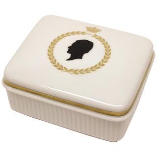 Royal Copenhagen Silhouette Covered Ceramic Box For Sale