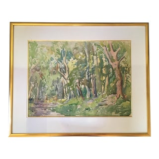 English Impressionist Signed Watercolor, Framed, Ready to Hang For Sale