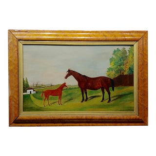 Race Horse and Her Baby -19th Century English School -Oil Painting For Sale