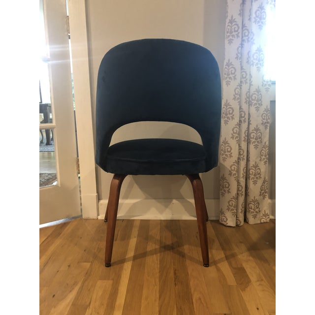1950s 1950s Mid Century Cocktail Chair in Dark Teal Velvet For Sale - Image 5 of 9