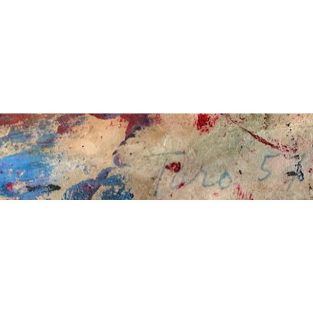 Taro Yamamoto Abstract Composition in Blue, Red Orange Painting For Sale - Image 4 of 4