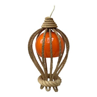 Rope Lantern Chandelier Balloon Audoux Minet, Circa 1960 For Sale