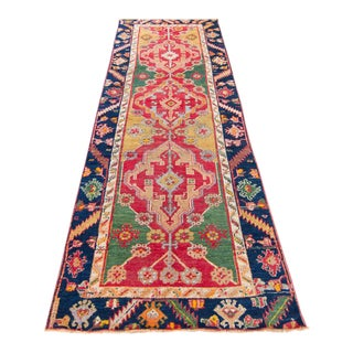 Early 20th Century Antique Oushak Kirsehir Kars Runner Rug - 3′4″ × 9′8 For Sale
