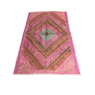 Vintage Banjara Tapestry Sequin Embroidered Pink Wall Hanging For Sale