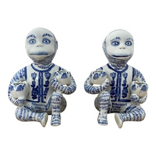 Vintage Late 20th Century Chinoiserie Blue & White Monkey Candle Stick Holders - a Pair For Sale