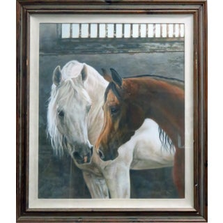 1980s P. A. Peggy Jones Contemporary Arabian Horses Signed Painting For Sale