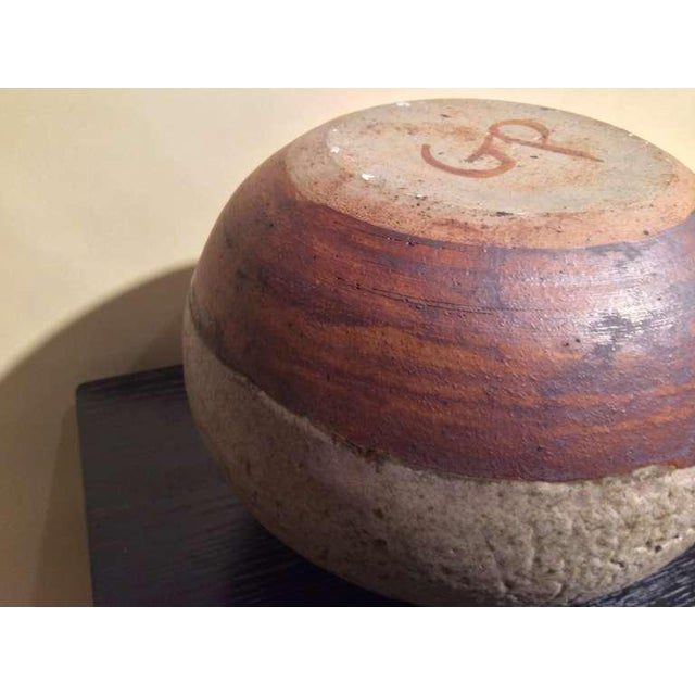 Late 20th Century Beautiful Textured and Glazed Pottery Vase Monogrammed Gp For Sale - Image 5 of 6