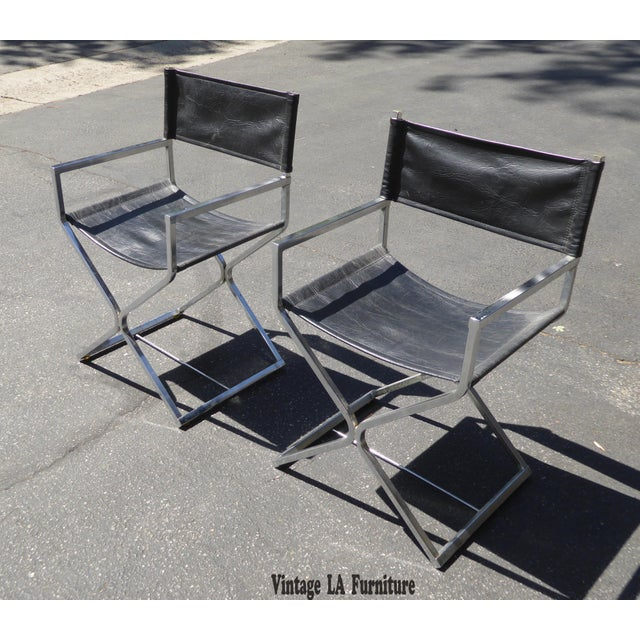 Contemporary Vintage Contemporary Black Chrome Accent Chairs - A Pair For Sale - Image 3 of 11