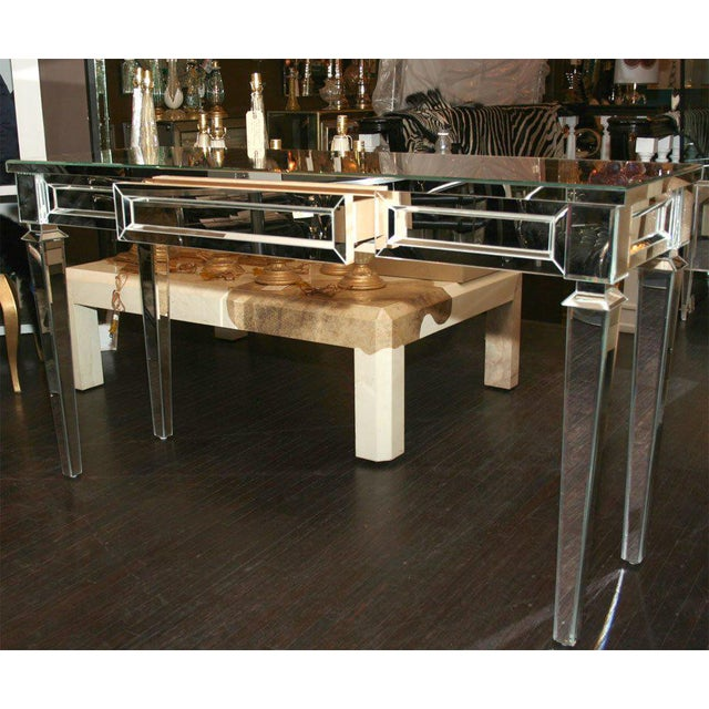 Glass Custom Mirrored Console Table For Sale - Image 7 of 8